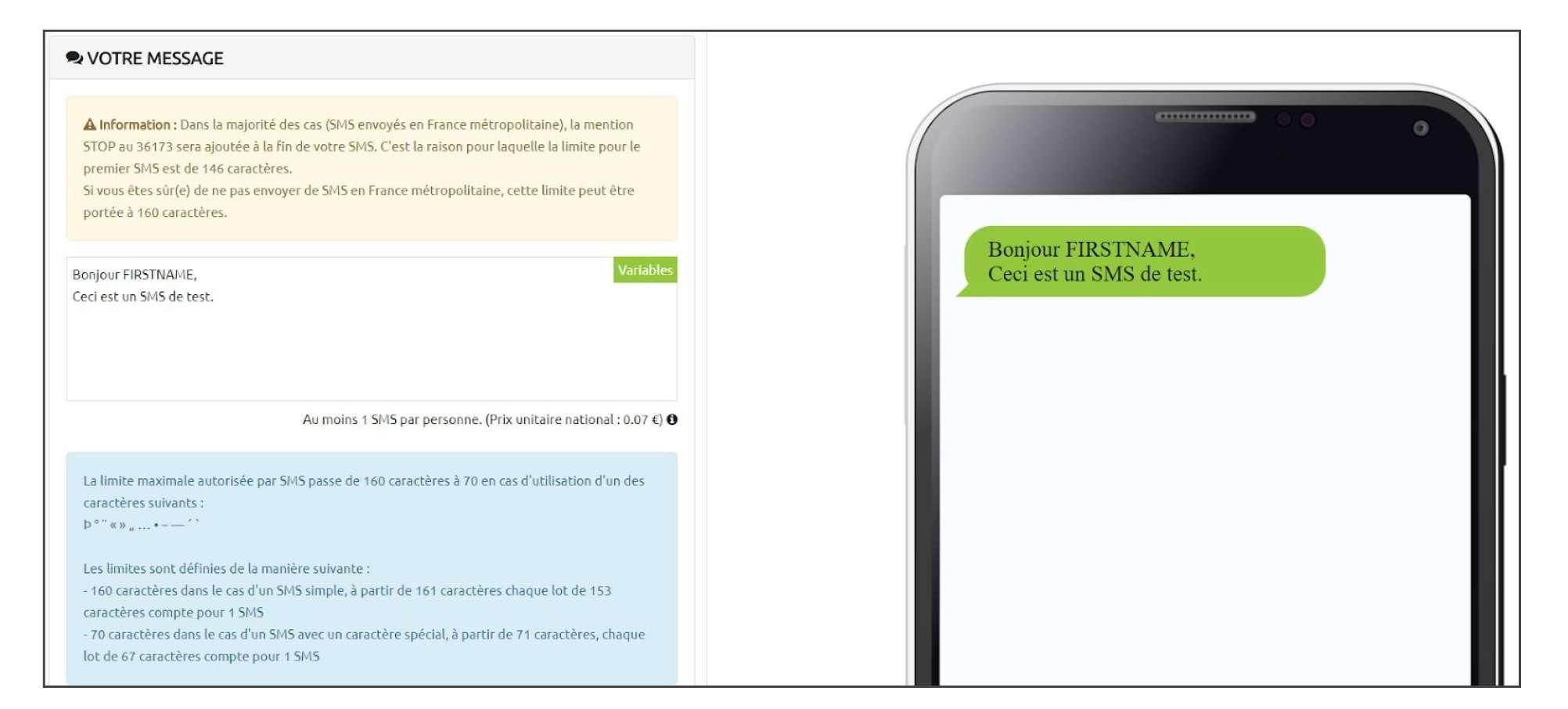 Editeur SMS